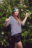 时髦青少年的女性模型 图库摄影
