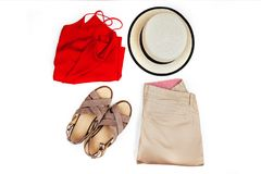 时髦,时髦女性衣裳和辅助部件 免版税库存照片