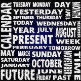 时间和日历词云彩乱写在蓝色背景的样式文本 库存照片
