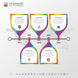 时间安排infographic与世界地图 五颜六色的现代设计模板 也corel凹道例证向量 免版税库存图片