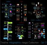时间安排Infographic设计模板设置了2黑色 免版税图库摄影
