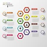 时间安排Infographics 六角设计模板 向量 免版税库存图片