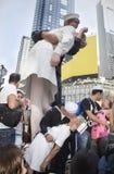 时代广场亲吻在 免版税库存图片