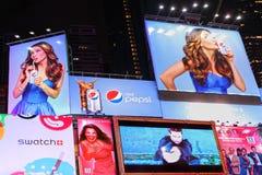 时代广场烙记和广告广告牌 免版税图库摄影