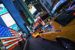 时代广场看法在夜之前 库存图片