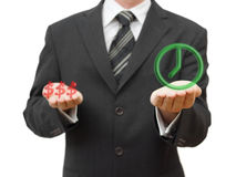 时间或金钱 工作生活平衡 免版税图库摄影