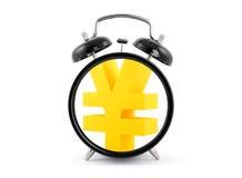 时间是金钱。有日元标志的闹钟。 库存图片