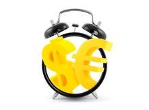 时间是金钱。有美元和欧洲标志的时钟 库存照片