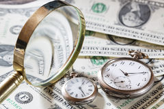 时间是金钱与老葡萄酒时钟、美金和放大镜的财务概念 免版税库存照片