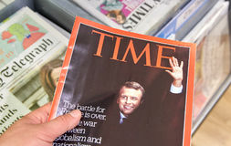 时代杂志封页的伊曼纽尔Macron  库存图片