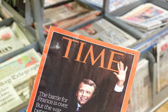时代杂志封页的伊曼纽尔Macron  免版税库存图片