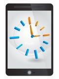 时间概念,在片剂的时钟 免版税库存照片