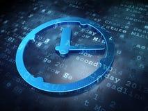 时间概念:在数字式背景的蓝色时钟 库存照片