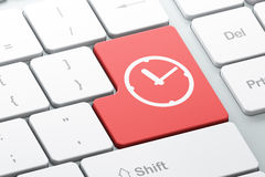 时间概念:在键盘背景的时钟 免版税图库摄影