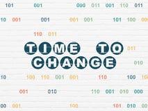 时间概念:时刻改变在墙壁背景 免版税图库摄影