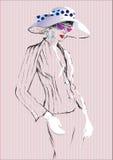 时兴的在glassess的端庄的妇女和帽子Sketh衣服的 也corel凹道例证向量 库存照片