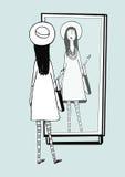 时兴的女孩在镜子看 有时髦,减速火箭的辅助部件帽子的,镶边贴身衬衣,提包妇女 拉长的现有量向量 皇族释放例证