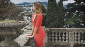 时兴的女孩画象红色礼服的 股票录像