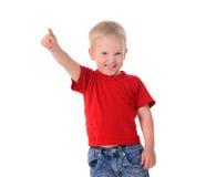 时兴的小男孩画象红色衬衣的 免版税库存图片