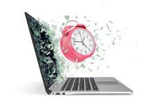 时间的概念,从膝上型计算机散发的时钟 3d例证 免版税库存照片