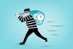 时间的窃贼在传染媒介样式的 免版税库存照片