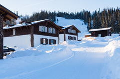 时兴的滑雪胜地在冬天森林倾斜自白天 免版税库存照片