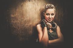 时兴的steampunk女孩 库存图片
