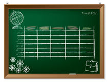时间表手拉在黑板 免版税库存图片
