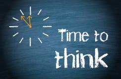 时刻认为-与时钟和文本的企业概念 免版税库存照片