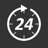 时间象 平的传染媒介例证在黑背景的24个小时 图库摄影