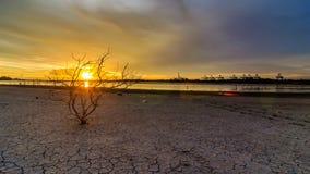 时间间隔在Laemchabang口岸的日落视图 影视素材
