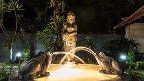 时间间隔小不可思议的庭院喷泉 城市点燃晚上场面 水在妇女手,青蛙上来自水罐 亚洲喷泉 股票录像