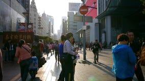 时间间隔,极端繁忙的南京路,步行购物中心,上海,中国 影视素材
