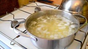时间间隔 土豆在平底深锅开始煮沸用里面土豆 影视素材