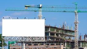 时间间隔建造场所和白色大广告牌 股票录像
