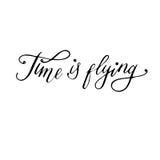 时间飞行:激动人心的词组,哲学心情的行情 刷子书法,手字法 免版税库存照片