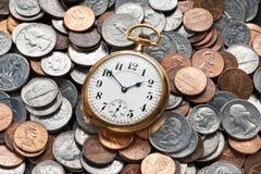 时间货币管理退休 库存图片