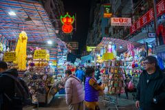 旺角,香港- 2018年1月11日:夫人销售是marketp 免版税图库摄影