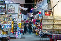 旺角,香港- 2018年1月11日:夫人销售是marketp 库存图片