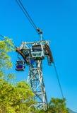 昂坪360在大屿山的缆车塔在香港 库存图片