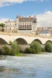 昂布瓦斯城堡和老桥梁,法国 免版税库存图片