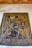昂布瓦斯,法国-大约2014年6月:在大别墅墙壁上的美丽的挂毯  库存照片