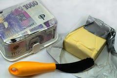 昂贵的黄油和黄色刀子和捷克冠 图库摄影