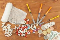 昂贵的治疗的金钱 瑞士法郎和欧元在药物 卖药物 关心消耗大的健康 现代的医学 免版税库存照片