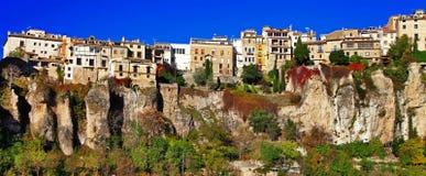 昆卡省。clifs的镇。西班牙 免版税库存图片
