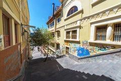 昆卡省台阶和街道画 免版税库存照片