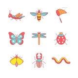 昆虫变薄线被设置的象 免版税库存图片