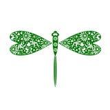 昆虫的传染媒介例证 装饰装饰绿色蜻蜓,在白色背景 免版税库存图片