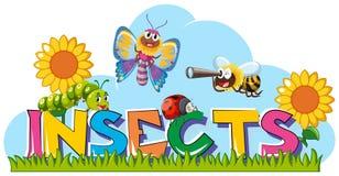 昆虫的词与许多昆虫在庭院里 皇族释放例证