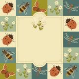 昆虫葡萄酒模板 库存图片